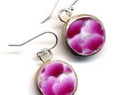 Daity Lotus Earrings, Old Porcelain Earrings, Pink Lotus Sterling silver Ear wire Earrings, Small Recycle china earrings Ming Style Earrings