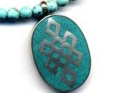 Endless Knot Necklace, Tibetan Pendant Necklace, Magnesite Necklace, Turquoise Necklace, Nepal Pendant, Handmade Nepal Jewelry By AnnaArt72
