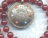 Nepal Necklace, Kalachakra Pendant, Carnelian Onyx Necklace, Good Luck Talisman, Nepal Jewelry by AnnaArt72