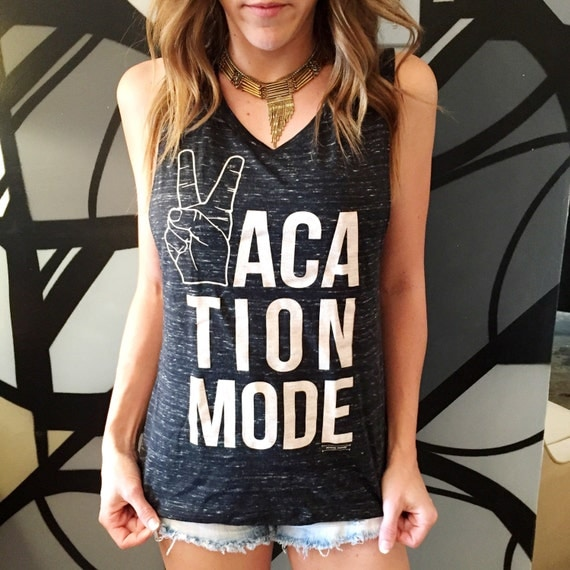 Vacation Mode Women S Graphic Tank Top Muscle Style Peace