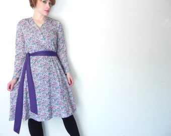WINTER SPECIAL Sweet Violet Vintage Librarian Dress // Matching Purple Waist Sash