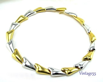 Necklace Collar  Silver Gold tone by Gold 21