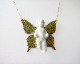 Frozen Charlotte Necklace,  Frozen Charlotte Butterfly Pendant, German Frozen Charlotte Doll