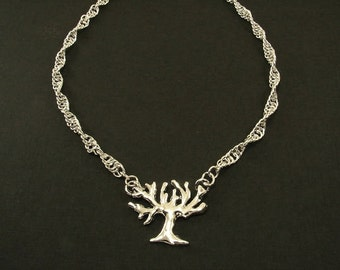 Fine Silver Tree of Life Pendant with Sterling Silver Spiral Chain Maille Chain Necklace