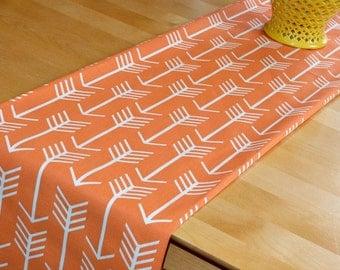 Orange Arrow Table Runner, Apache Orange White, Archery Aztec Tribal Tribe, Premier Prints