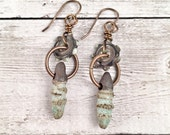 SALE Priced Handmade Rustic Dangle Earrings Ceramic and Glass Handmade Beads Gift Ideas for Her