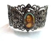 OOAK Mysterious Smile Lady Mona Lisa Repurposed Antique Silver Vintage Filigree Bow Cuff Adjustable Bracelet