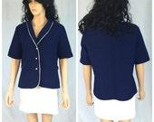 Vintage Navy Blue and White Jacket. Short Sleeve Jacket. Button Up Jacket. X-Large. Summer Jacket. Nautical Sailor Jacket. Under 20