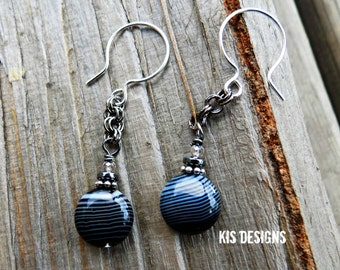 Zebra Earrings with Sterling Silver