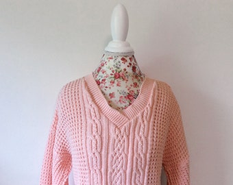 Vintage pink sweater // slouchy cotton //  chunky women's  pullover