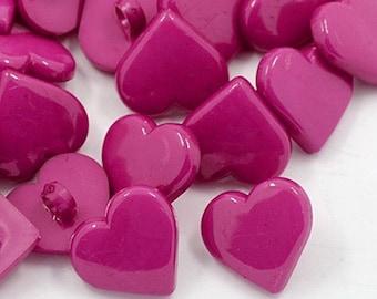 Magenta Heart Button Mix - 12mm - Set of 50- #BUTTON308