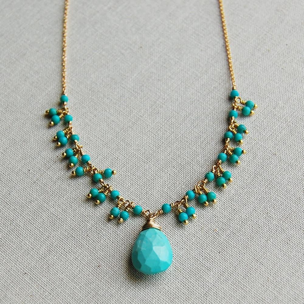delicate turquoise fringe teardrop pendant by