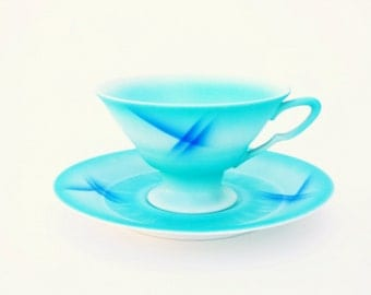Bauhaus Spritzdekor Art Deco Cup & Saucer, Exquisite Zeh Scherzer Bavaria Porzellan, Aqua with Cobalt Slash Marks