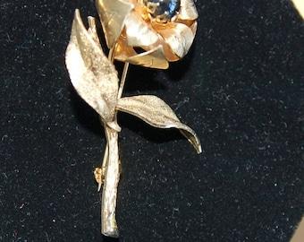 On sale Pretty Goldtone, Hematite Floral Brooch, Vintage