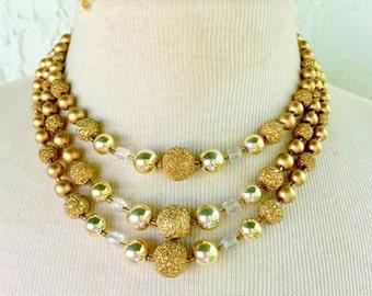 Vintage Necklace Multi Strand Gold Glitter Beads 1950s japan