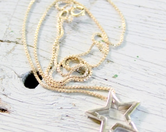 STAR Sterling Silver 925 Necklace Dainty Signed