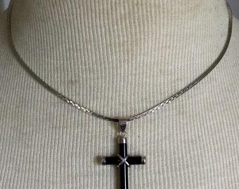 ONYX CROSS Sterling Silver Necklace Stone 925 boho Vintage