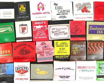 Retro 1970s 1980s matches Matchbook Collection Advertising Covers Paper Ephemera Hipster Bar Decor
