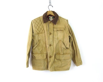 Mens vintage Game Winner Sportswear Canvas Coat Hunting Jacket Distressed Antique Rugged Hiking Coat Size Small 36-38