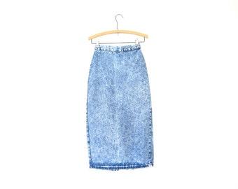 80s High Waist Long Denim Skirt Acid Wash Jean Skirt Midi Pencil Skirt ZIPPER BACK Hipster Grunge Boho Skirt Vintage Womens XS