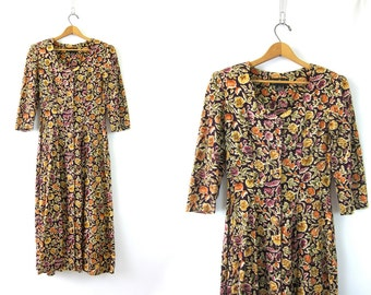 90s Floral Dress Grunge Button Front Floral Midi Dress Purple Orange Rayon Revival Boho Sun Dress Flowers 1990s Bohemian Dress Women's SMALL