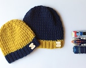Knit hat, knit beanie, Knit blue hat, knit blue beanie, knit yellow beanie, knit yellow hat. Reserved listing for Rotha