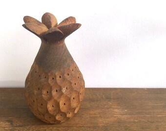 Vintage Folk art Pineapple Wood Carving~Toothpick holder~ Retro Tiki party server