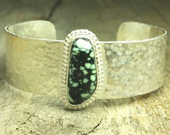 Genuine gem grade Utah Snow ville Verisite turquoise, solid hand forged and textured cuff bracelet, woman's cuff bracelet, ready to ship