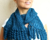 50% CLEARANCE SALE Teal Blue Patrol Blue Mohair Scarf With Tassel