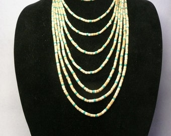 Native American Style Bone and Turquoise Heishi 6 Strand Necklace