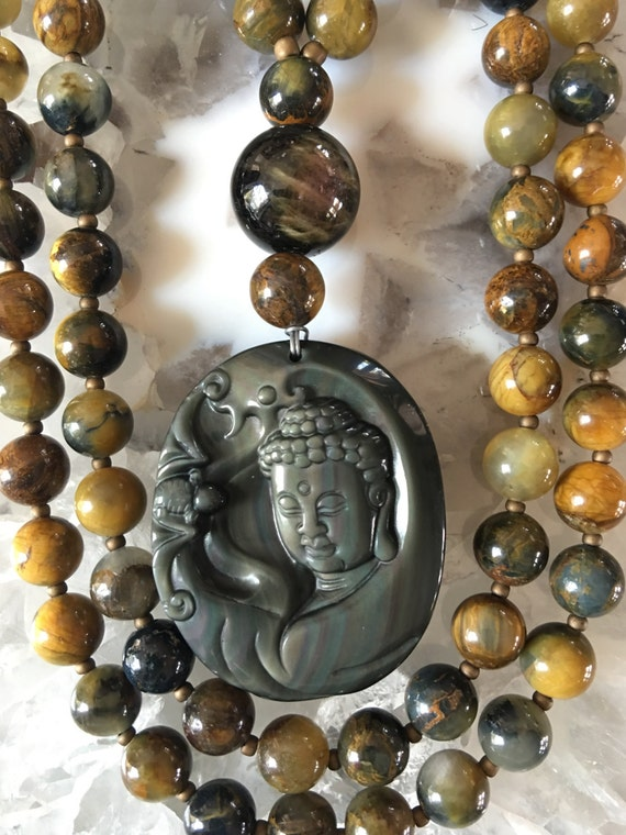 Pietersite and Rainbow Obsidian Mala/Prayer Beads