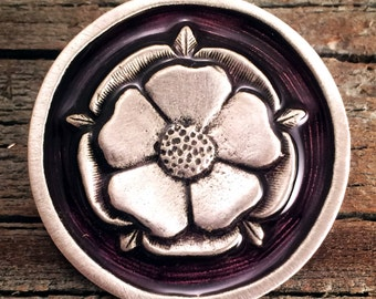 Tudor Rose Pewter Pin -Choice of Color