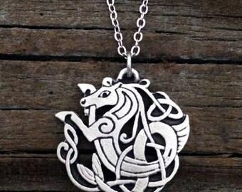 Celtic Seahorse / Kelpie Pewter Necklace