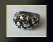 Cute BRUT-Guy Vidal Brutalist/Modernist Ring,Canada,Rocky Surface Plated Pewter, Signed,Vintage Jewelry,Women