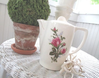 Vintage Electric Coffee Tea Pot * Shabby French Country Cottage Farmhouse * Pink Roses