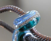 """RESERVED FOR ALEXANDRA Tangled Sky Glass """"Olympia"""" #4 Fully Sterling Silver Lined Lampwork Charm Bead BhB"""