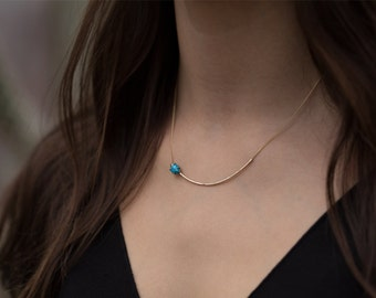 Asymmetrical Turquoise + Diamond Necklace