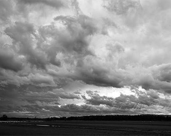 Landscape Photograph, Sky Photography, Rustic Decor, Cloud Photo, Nature, Wall Art, New England Print, Fine Art, Grey, Black, White