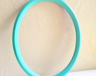 Teal Metal Oval 8x10 Picture Frame Ready to Hang with Glass