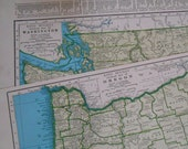 Washington Oregon set of 2 vintage State maps 1944 Pacific Northwest Collection