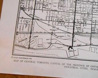 City Map, Toronto Ontario, vintage 1944 street map