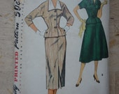 1950s Vintage Womens Suit Sewing Pattern, Simplicity 4963, bust 38