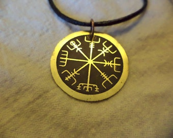 Etched brass Viking compass pendant