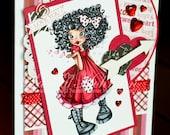 Valentine Kisses Handmade Greeting Card