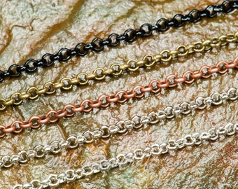 "50 Metal Necklace Loop Chain, Rolo Chain  24"" in Silver, Antique Copper, Black, Antique Silver and Antique Bronze"