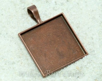 10 pcs 25mm Copper Square Pendant Trays  (1 Inch) with Glass Square Cabs smooth back (19-12-220), Blank Bezel Cabochon Setting
