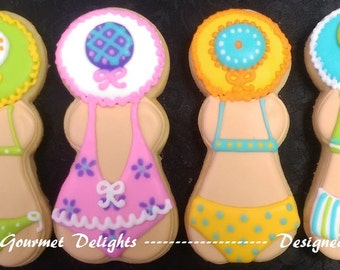 Beach Babe Cookies - Bikini Babe Cookies - Bathing Beauty Cookies - 12 Cookies