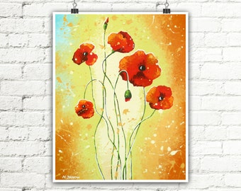 "Red Poppy Art Print Summer Decor, Flower Art Wall Decor, Red Poppies Wall Art Bedroom Decor, Red Flowers Nature Art 8""x10"""