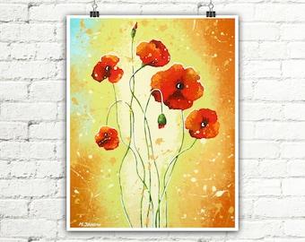 Red Poppy Art Print Summer Decor, Flower Art Wall Decor, Red Poppies Wall Art Bedroom Decor, Red Flowers Nature Art