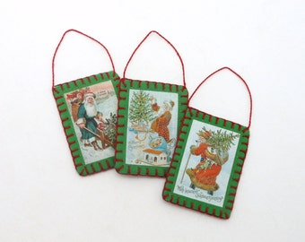 3 Chirstmas Santa Vintage Postcard Image Ornaments